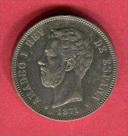 ESPAGNE AMEDEO I 5 PESETAS 1871 TB+ 30 - Espagne