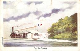 Ligue Mme Coloniale ( BATEAU A ROUE )  SUR LE CONGO  Illust. L. HAFFNER - Barche