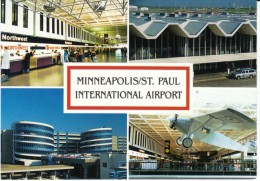 Minneapolis St. Paul International Airport, Terminal Building Interior Views C1970s/80s Vintage Postcard - Aerodromi