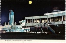 Stapleton International Airport, Denver Colorado, Terminal Jet At Night, C1970s Vintage Postcard - Aerodrome