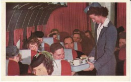 United Airlines Interior View Of Plane, Stewardess Serves Food To Passengers, C1940s/50s Vintage Postcard - 1946-....: Modern Tijdperk