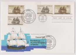 1983 Joint/Gemeinschaftsausgab E Germany USA, MIXED FDC DOUBLE SET STAMPS AND CANCELS: Immigration/Concord - Joint Issues