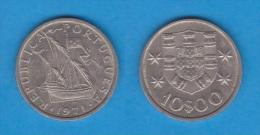 PORTUGAL  10 ESCUDOS 1.971  CU NI  KM#600  MBC/VF   DL-10.651 - Portugal