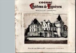 Dépliant En 2 Volets Cognac Château De Lignères MAURICE BALLOT -  Scans Recto/verso - 1900 – 1949