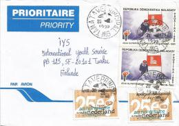 Madagascar 1998 Tamatave Olympic Games Lake Placid Skiing Nederland Cooperation Cover - Skisport