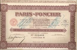 PARIS FONCIER - ACTION DE CENT FRANCS AU PORTEUR - PARIS AOÛT 1927 - Actions & Titres