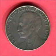 CUBA 1 PESO 1953 CENTENAIRE DE MARTI TB 32 - Cuba