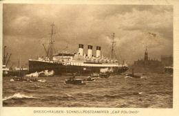 AK Schnellpostdampfer Cap Polonio Im Hamburger Hafen 1925 Später: S.M.S. Vineta Schiff Dampfer Ship Steamer HSDG - Paquebots