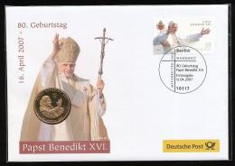 GERMANY  Mi.Nr.  2599 Papst Benedikt XVL Auf FDC Mit Gedenkmedaille - Pausen
