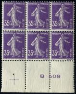 N001 France N°142 Bloc De 6 Avec Croix De Repère NEUF ** LUXE Sans Charnière - France