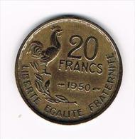FRANKRIJK 20 FRANCS 1950  4 PLUIMEN G.GUIRAUD - Frankrijk