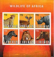 Liberia 2013 MNH Wildlife Of Africa 6v M/S Animals Zebra Lion Rhino Warthog - Liberia