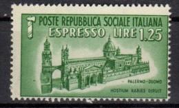 PIA - RSI - 1944 - Espresso : Duomo Di Palermo -  VARIETA' - (SAS 23) - 4. 1944-45 Repubblica Sociale