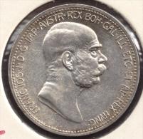 AUSTRIA 1 CORONA 1848 - 1908 ARGENT SILVER