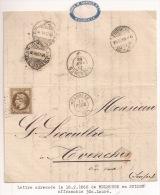 Pa52 - TARIF ETRANGER  MULHOUSE - 1868 - Pour SUISSE - Type 15 - GC 2578 Sur 30 Centimes Empire Lauré - Haut Rhin - - Postmark Collection (Covers)