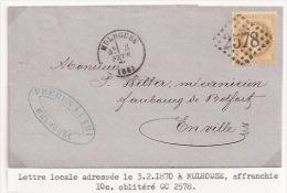 Pa57 - PORT LOCAL MULHOUSE - 1870 - Pour MULHOUSE - Type 16 - GC 2578 Sur 10 Ctes Empire Lauré - Haut Rhin - - Marcophilie (Lettres)