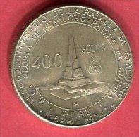 PEROU 400 SOLES BATAILLE D AYACUCHO 1974       TTB+ 35 - Pérou