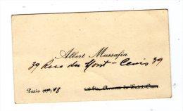 Carte De Visite , Albert MUSSAFIA , Paris - Visitenkarten