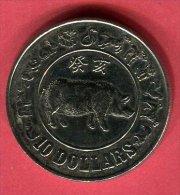 SINGAPOUR ANNEE DU COCHON 10 DOLLARS 1983 TTB/SUP 25 - Singapore