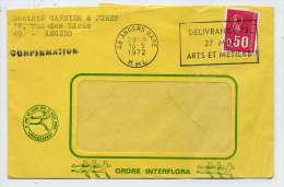 """SECAP-1972--ANGERS--49---flamme""""Délivrance 72-27 Mai-Arts Et Métiers""""-Marianne Béquet--enveloppe Interflora------------- - Sellados Mecánicos (Publicitario)"""