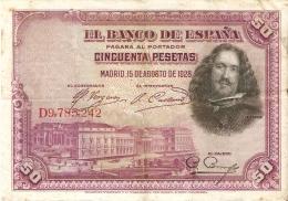 BILLETE DE ESPAÑA DE 50 PTAS DEL AÑO 1928 SERIE D CALIDAD RC (BANKNOTE) - [ 1] …-1931 : Primeros Billetes (Banco De España)