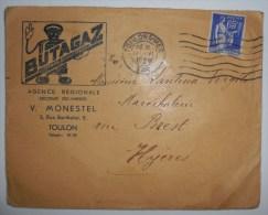 Enveloppe Timbrée - Publicité BUTAGAZ - TOULON / VAR - 1938 - Marcophilie (Lettres)