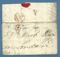1849  PREFILATELICA  ESTERO DA ROMA A LONDRA - ANNULLI E TASSAZIONI INTERESSANTI - ...-1850 Préphilatélie