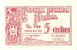 BILLETE DE 5 CTS DEL AJUNTAMENT DE PREMIA DE MAR DEL AÑO 1937  (BANKNOTE) SIN CIRCULAR-UNCIRCULATED - [ 3] 1936-1975 : Régimen De Franco