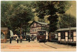 Alte Farbfoto-AK Straßenbahn Am Lichtenhainer Wasserfall In Der Sächs. Schweiz - Deutschland