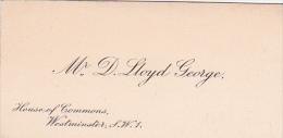 """Carte De Visite """" Mr D. LLOYD GEORGE  """" House Of Commons Westminster London UK - Format 37 X 75 Mm - Cartes De Visite"""