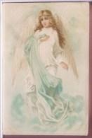 Superbe Litho Chromo Relief Illustrateur E.S.D. ESD SERIE 8114 Grand Ange Blond Voile PRECURSEUR 1904 - Angels
