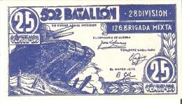 BILLETE DE 25 CTS DEL 502 BATALLON - 28 DIVISION -126 BRIGADA MIXTA (BANKNOTE) SIN CIRCIULAR-UNCIRCULATED - Ohne Zuordnung