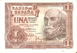 BILLETE DE 1 PTA DEL 22/07/1953 SERIE S SIN CIRCULAR-UNCIRCULATED  (BANKNOTE) COLOR ROJIZO - [ 3] 1936-1975 : Régence De Franco