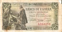 BILLETE DE ESPAÑA DE 5 PTAS DEL 15/06/1945 SIN SERIE (BANKNOTE) ROTURA ESQUINA - [ 3] 1936-1975 : Régence De Franco