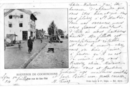 SOUVENIR DE COCHINCHINE UNE RUE ANIMEE DE CAN-THO CARTE PRECURSEUR 1904 - Viêt-Nam