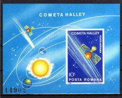ROMANIA 1986 - Halleys Comet S/s  Mi. B222 Serie Cpl. 1BF Nuovi**  Perfetti                 . - Blocchi & Foglietti