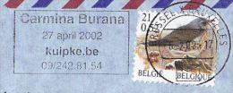 2002 BELGIUM Air MaiL COVER  CARMINA BURANA OPERA SLOGAN Pmk BIRD Stamps Music Birds Airmail Label - Musique