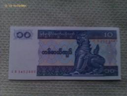 Billete Myanmar. Birmania. 10 Kyats. 1996. Sin Circular - Myanmar