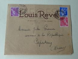 Louis Revel Fabricant Sieges A  Revel Hte Garonne  Ambulant Castres A Castenaudary 1939 - Marcophilie (Lettres)
