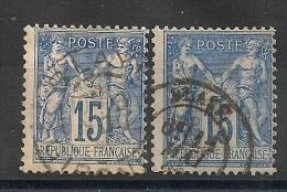 BLAYE 2 TYPES Gironde Sur 2 SAGE. - Marcophilie (Timbres Détachés)