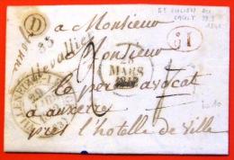 CURSIVE DE VILLEVALLIER  --  YONNE  --  1842  --  INDICE 10 - Marcophilie (Lettres)