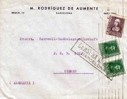 SPANIEN 195?, Zensurbrief 3 Fach Frankiert Von Barcelona Nach Bremen - 1931-50 Briefe U. Dokumente
