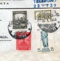 COLOMBIA 1949, 4 Fach Frankatur Auf Brief Von Bogota Nach Velbert - Colombia