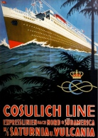 # OCEAN LINER Art Print Stampa Gravure Poster Druck Ship Atlantic Travel Vintage Italy America Trieste - Maritieme Decoratie