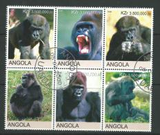 2000 Block Of 6 Gorilla Stamps Cancelled To Order Complete Mint Unhinged All Gum On Rear - Angola