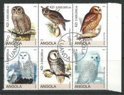 2000 Block Of 6 Owls  Stamps Cancelled To Order Complete Mint Unhinged All Gum On Rear - Angola