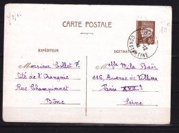 ALGERIE ENTIER POSTAL  A DESTINATION DE LA FRANCE TYPE HOURRIEZ OBL CONSTANTINE DU 27.12.1941 - Algeria (1924-1962)