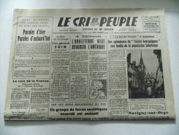 """JOURNAL LE CRI DU PEUPLE Mercredi 30 Décembre 1942 A Djibouti L'Angleterre !! """" Le Cri Du Peuple à AUXERRE - Non Classés"""