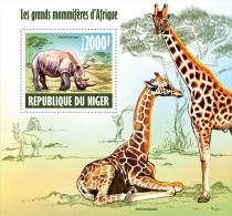 nig13611b Niger 2013 Large mammals s/s Rhinoeros Giraffes