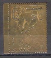 1968 AJMAN STAMP GOLD GRENOBLE GIOCHI OLIMPICI INVERNALI SPORTS MNH - Inverno1968: Grenoble
